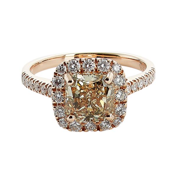 Rosetring med cushion cut 2.04ct champagne diamant