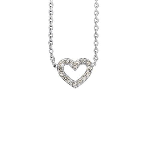 Heart collier hvidguld 0.16ct