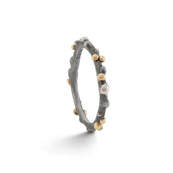 Nature ring oxyderet med 18kt guld