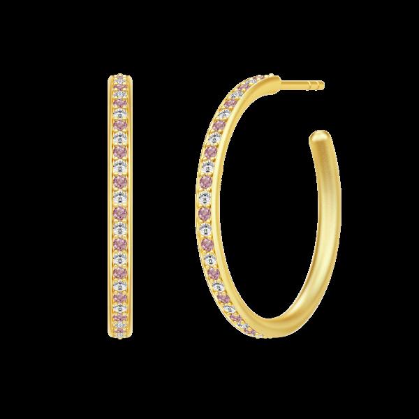 Infinity Medium Hoops - Gold/Rhodolite