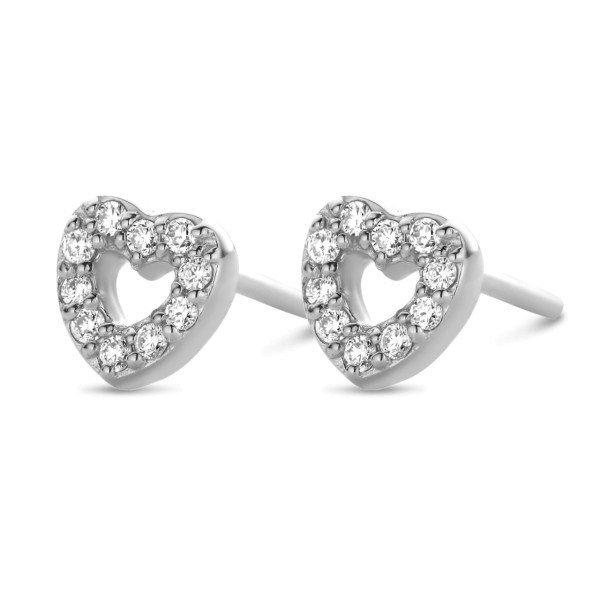 Devotion øreringe 0,1ct ,14 kt. hvidguld med diamanter