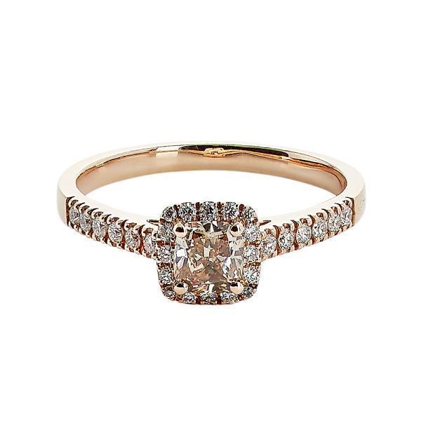 Cushion cut 0,48ct champagne diamant