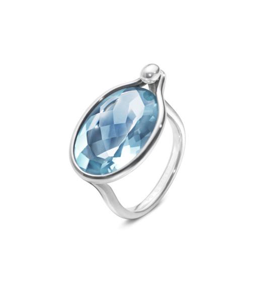 SAVANNAH ring - sterlingsølv med blå topas, stor