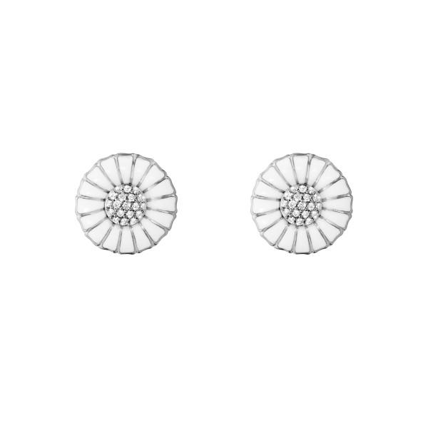 DAISY øreringe - rhodiumbelagt sterlingsølv med diamanter