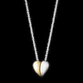Curve hjerte vedhæng i sølv og 18kt guld