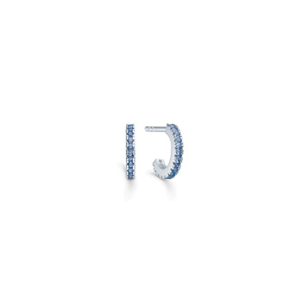 Simplicity Mini Hoops - Rhodium/Blue