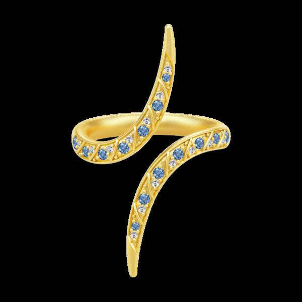 Peacock Ring Gold white/blue