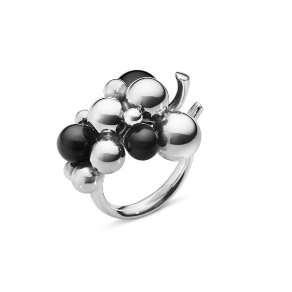MOONLIGHT GRAPES RING - sterlingsølv med sort onyx, medium