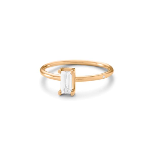 Nord white ring 0,40ct baguettesleben hvid topas.