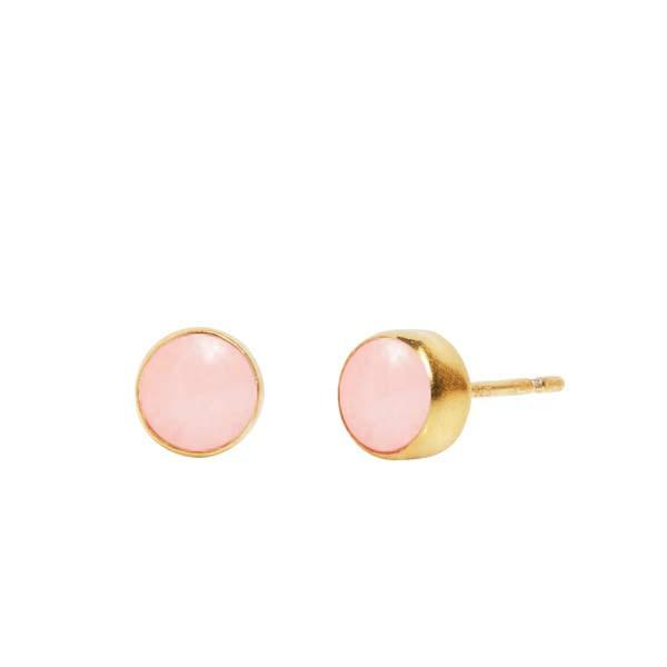 Øreringe i forgyldt sterling sølv sat med pink opal
