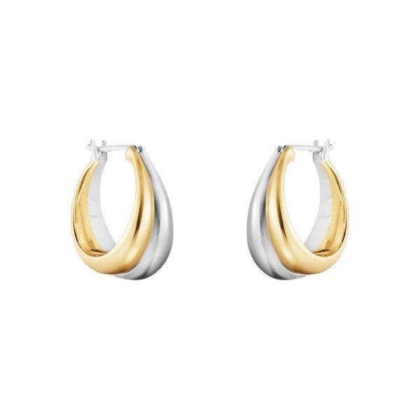 Curve medium ørering sølv og 18kt guld