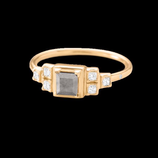 Rå classic diamantring 0.40ct Grå & 0,15ct TW.VS