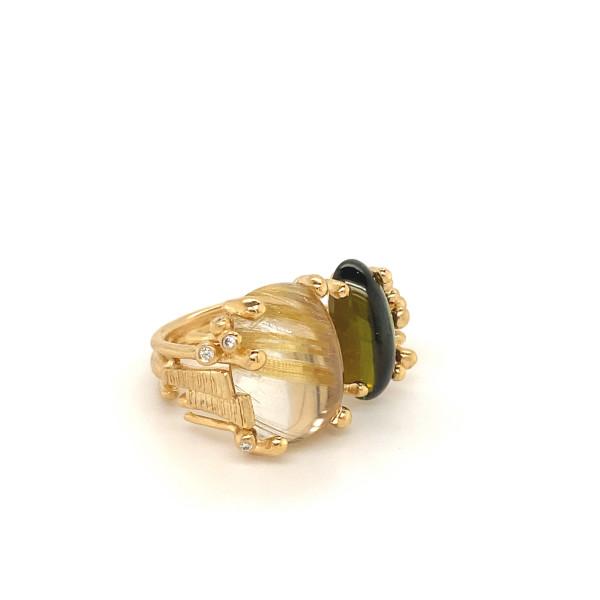 BoHo Ring med rutil og grøn turmalin og ialt 0,04 ct. TW.VS
