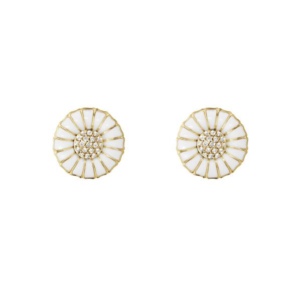 DAISY øreringe - forgyldt sterlingsølv med diamanter