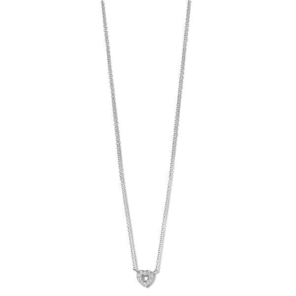 Devotion halskæde 45 cm - 14 kt. hvidguld med brillantslebne diamanter