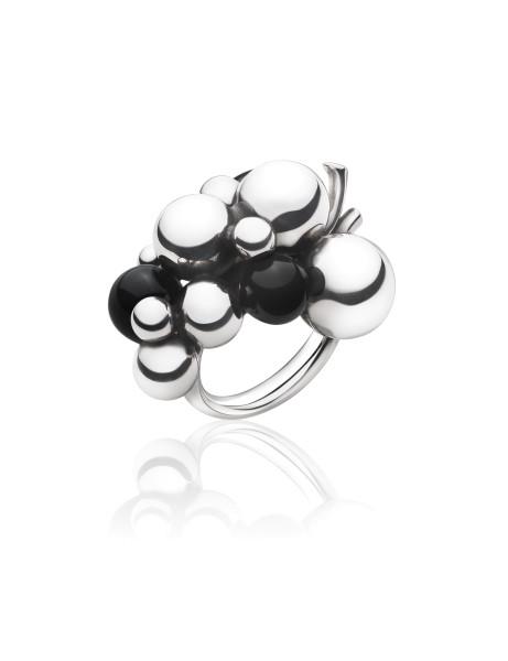 MOONLIGHT GRAPES ring - sterlingsølv med sort onyx, stor