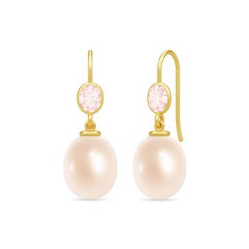 Callas Øreringe med rosa perle og rose quartz