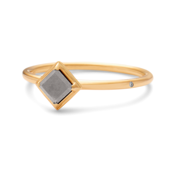 Rå classic diamantring 0,40ct grå