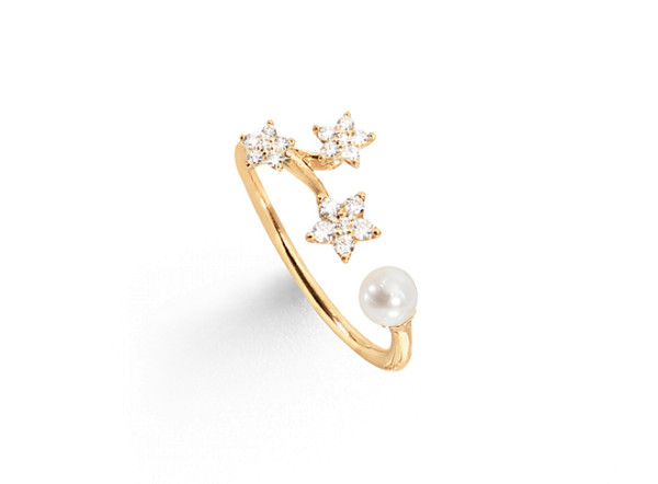 Shooting stars ring med perle 0.14ct