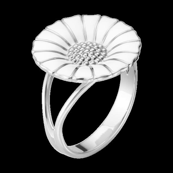 Daisy ring sølv/hvid 18mm