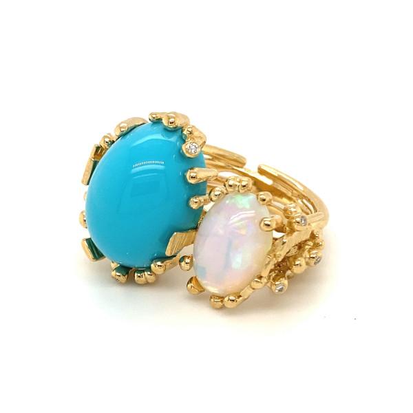 BoHo Ring med turkis og opal. 7 brillianter, ialt 0,05 ct.