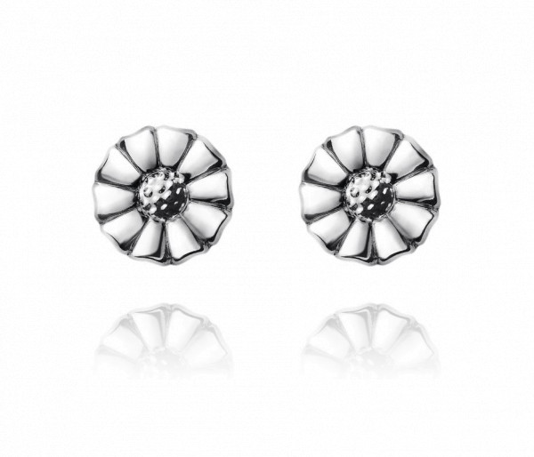 Daisy øreringe - rhodineret sterlingsølv