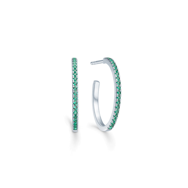 Simplicity Hoops - Rhodium/Green