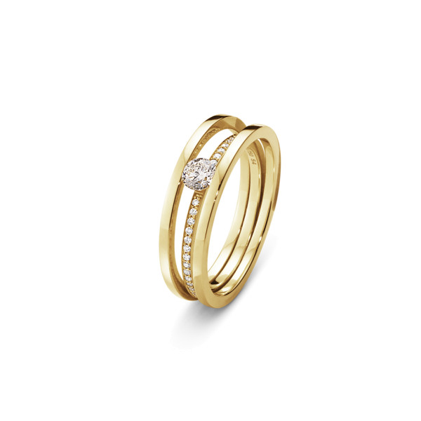 HALO solitaire ring - 18 kt. guld med brillantslebne diamanter