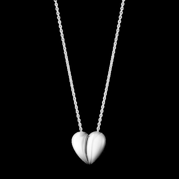 Curve hjerte vedhæng i kæde