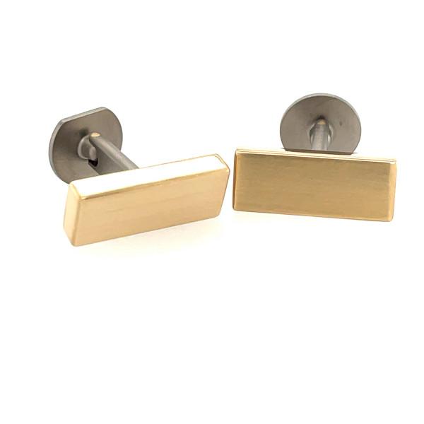 Manchetknapper i titanium med 14kt guld