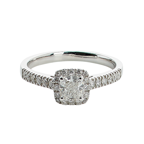 Rosetring med 0.53ct cushion cut TW/SI diamant