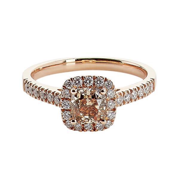 Rosetring med cushion cut 0,81ct champagne diamant