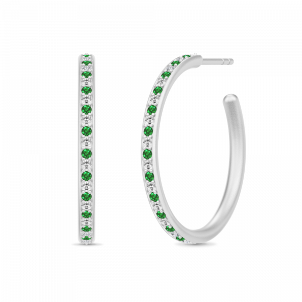 Infinity Medium Hoops - Rhodium/Green