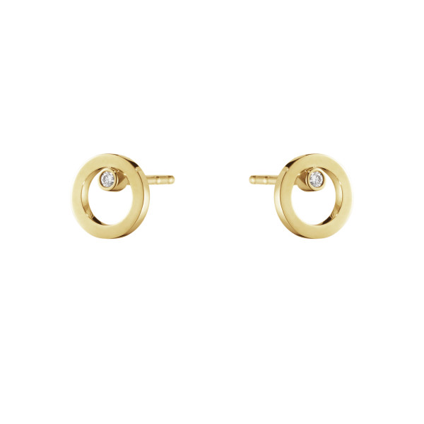 HALO øreringe – 18 kt. guld med brillantslebne diamant