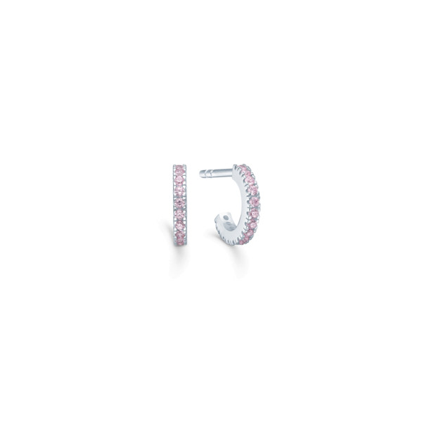 Simplicity Mini Hoops - Rhodium/Pink